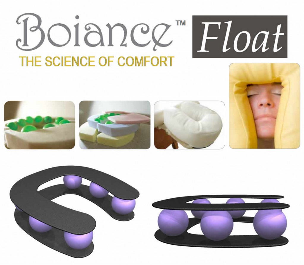 The boiance face cradle massage headrest that floats for True touch massage experience luxury spa chair
